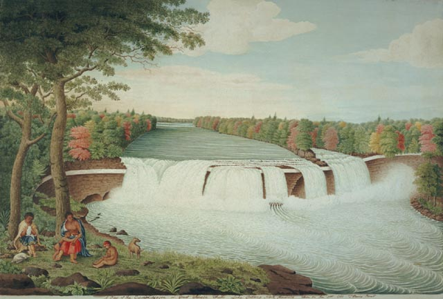 """A View of the Casconchiagon or Great Seneca Falls"" by Thomas Davies - via Wikimedia Commons"