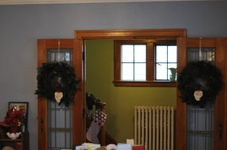 Wreaths, garland, stockings, and cards.
